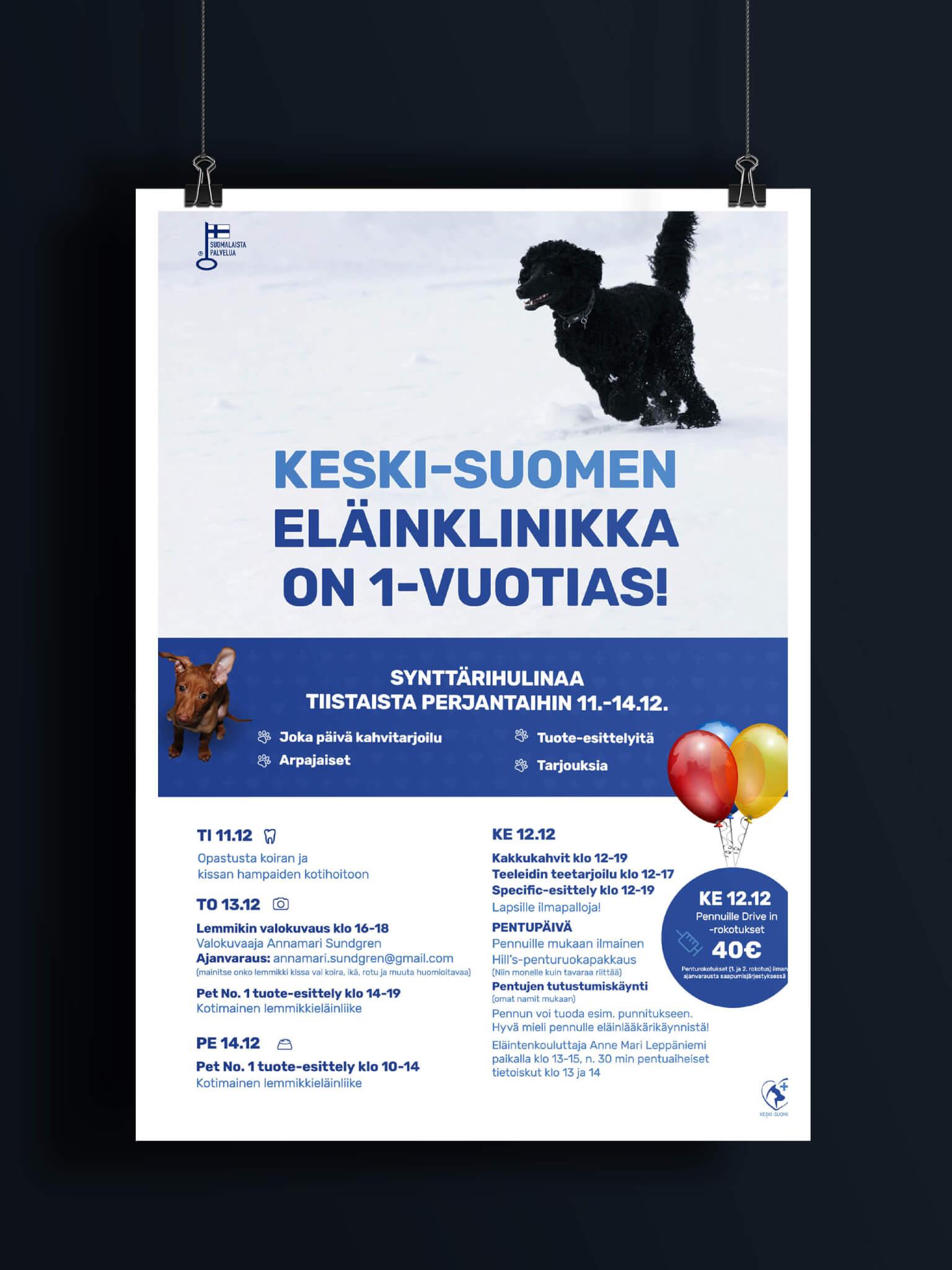 graafinen suunnittelija-Juliste-keskisuomen-eläinklinikka